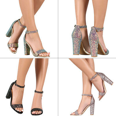45087475172ee7 Women Iridescent Glitter Open Toe Ankle Strap Pump Sandal Block Chunky High  Heel