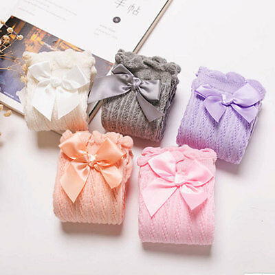 Baby Girls Socks Double Bow Knee High Great Gift School Uniform Hot 2pcs