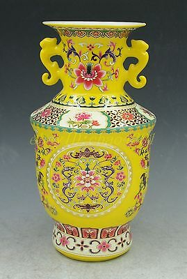 Delicate Chinese Yellow Porcelain Hand Painted Flowers Vase Binaural
