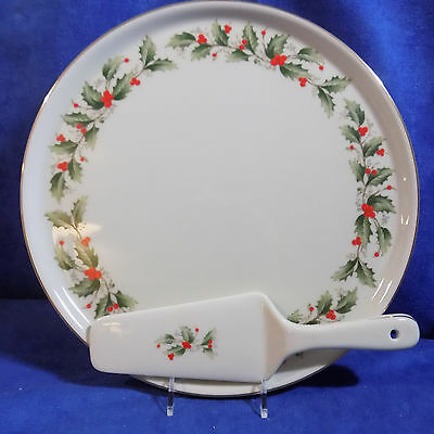 Christmas Holly All The Trimmings Cake Plate W / Cake Server Set - Mib