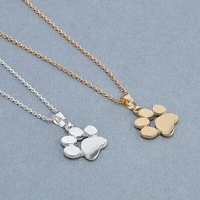 """Small 1/2"""" DOG CAT PAW Colored Charm Necklace with 18-20"""" Adjustable Chain"""