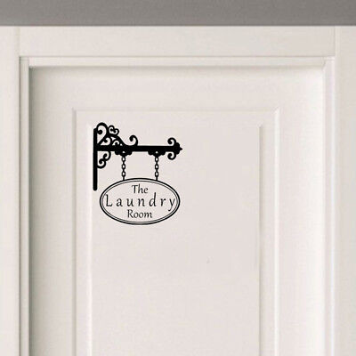 Laundry Room Sign Door Victorian Style Wall Sticker | Retro Vintage Decor Decal