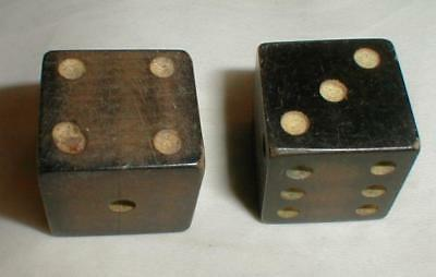 Pair of Large Wooden Dice Vintage 1""