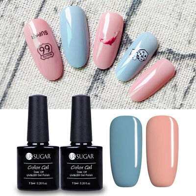 2bottles UV LED Gel Polish Blue & Pink Soak Off Nail Art Gel Colors Design Party