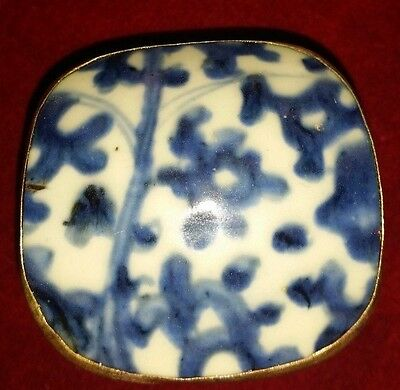 Vintage Chinese Hand Tooled Shard Box, Jewelry Box, Porcelain Blue and White NO1