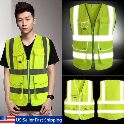 5 Pocket Neon Green High Visibility Reflective Construction Safety Security Vest