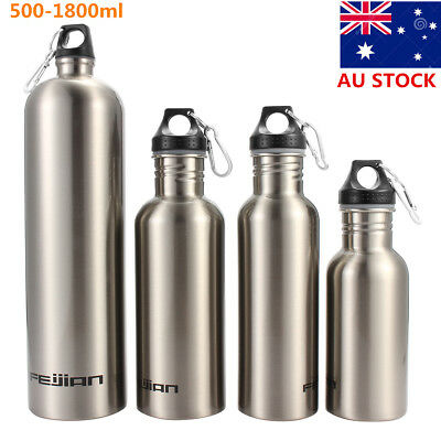 AU 500-1800ml Stainless Steel Water Bottle Outdoor Sport Cycling Climbing New