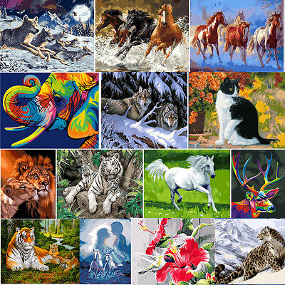 Animal DIY Digital Oil Painting Kit Paint By Number On Linen Scenery Home Decor
