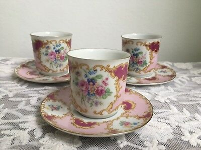 Beautiful Limoges Coffee Cups And Saucers Set Of 3 Rare French Porcelain Cups