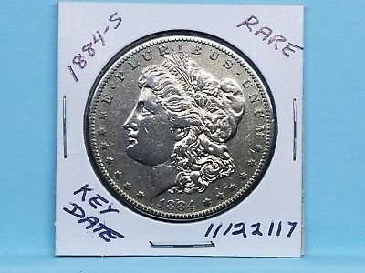 1884-S Morgan Silver Dollar Beautiful Reflective Fields Key Date #11122117-50W