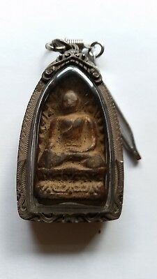 Rare Antique Thailand Amulet in Sterling Silver Case--17th to 18th Century