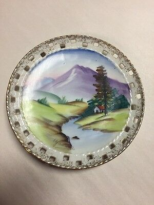 """Vintage Ucagco China Hand Painted 6 1/8"""" Plate Made in Japan"""