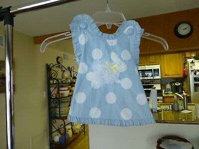 NWOT Mud Pie Baby Girls Blue Polka Dot and Bunny Dress.  Size 12-18 M. Adorable!