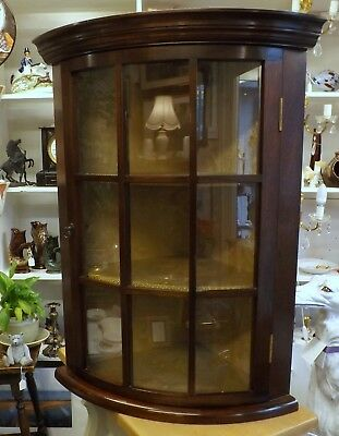 Reproduction Mahogany Bowfront Hanging Corner Cupboard, Beautiful Interior