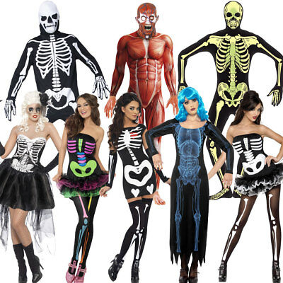 8b5fdcdb14b Mens Ladies X-Ray Skeleton Costume - Halloween Skeleton Fancy Dress Outfit  Sc 1 St PicClick UK