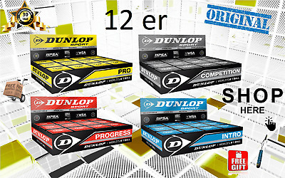 DUNLOP Squashbälle Pro Neu Gelb Intro Grau Competition Progress Intro 12er Pack
