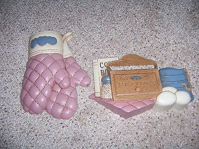 Home Interior Kitchen wall Plaques Recipes and Mittens Homco Pockets