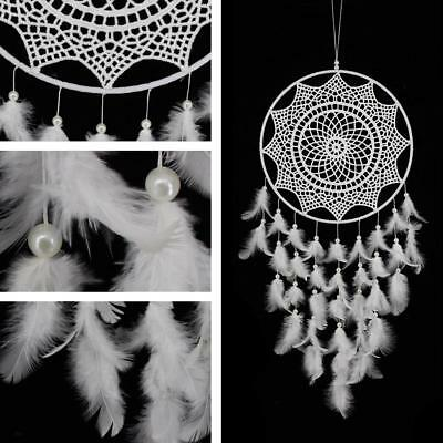 White Handmade Dream Catcher Feather Home Hanging Decor Ornament Craft Gift Wall