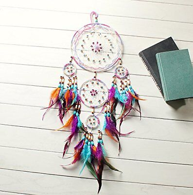 NEW Wall Home Office Hanging Ornament 31'' Large Dream Catcher Colorful Feathers