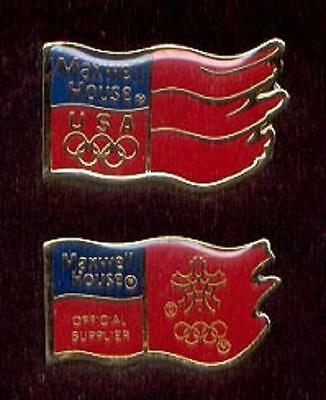 Pair 2 Diff Maxwell House Coffee 1988 Calgary Winter Olympic Flag Lapel Pins z3
