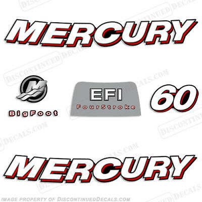 2006 Mercury 60hp FourStroke EFI Outboard Decals Reproductions Curved Style 60