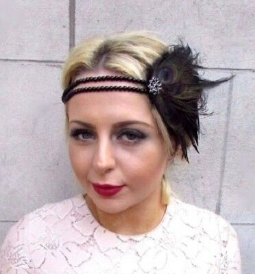 Black Feather Headpiece 1920s Headband Flapper Great Gatbsy Vtg Fascinator 4844