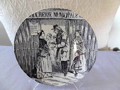CREIL & MONTEREAU 19TH c HUMOROUS CARTOON POLITICAL PLATE AT THE BUTCHERS
