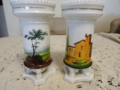 PAIR HAND PAINTED VICTORIAN GLASS VASES w BADA STICKER 100 plus years old