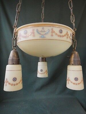 Beautiful Antique Enamel Satin Glass Bowl Light Fixture Chandelier - Pendant