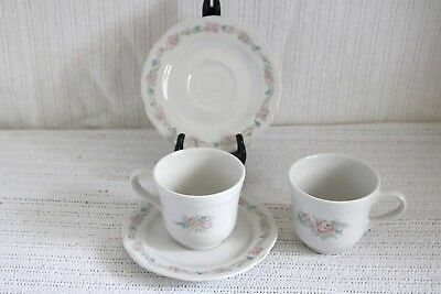 """Corning Designs - VINTAGE ROSE - China - 3 3/8""""d Coffee Cups & 6"""" Saucers (2 ea)"""