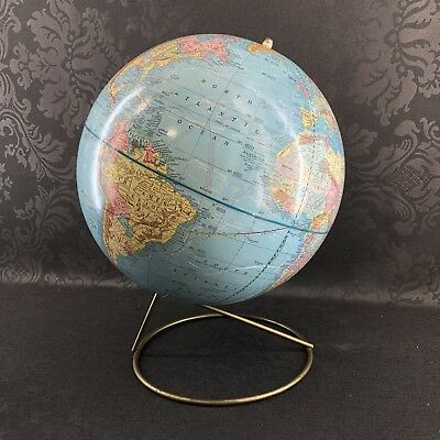 """Crams Imperial 12"""" Globe On Brass Wire Frame Stand Vintage MCM Terrestrial World"""