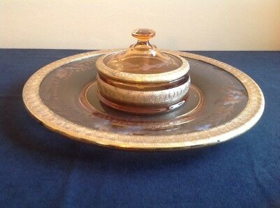 Vintage Amber and Gold Fostoria Etched Chip & Dip Serving Dish