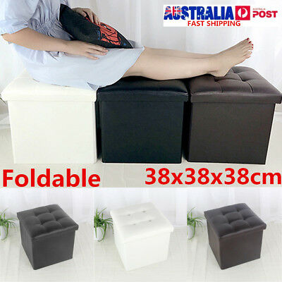 Leather Footstool Sofa Ottoman Folding Footrest Seat Lounge Home Storage Box