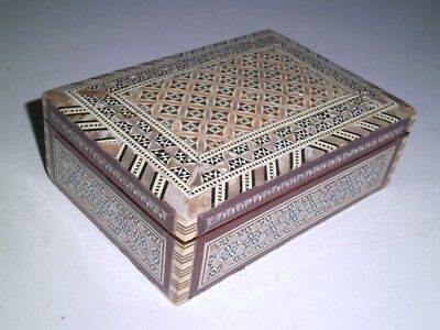 Egyptian Mother of Pearl inlaid jewelry trinket box with red velveteen lining