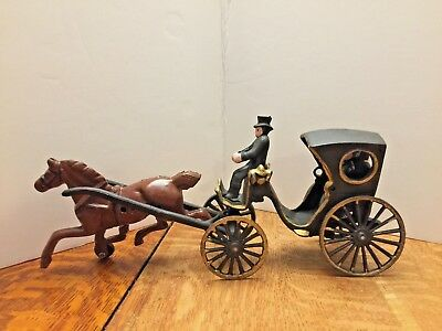 Antique Vintage Cast Iron Horse And Carriage - With Driver And Passenger