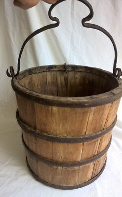 Large Antique Old Provincial Farm Wood Wooden Bucket Iron Strapping Handle
