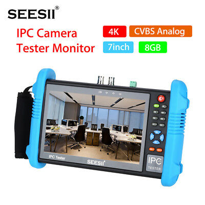 7''4K 1080P IPC Cam CCTV Tester Monitor CVBS Audio Analog Test HDMI Output Local