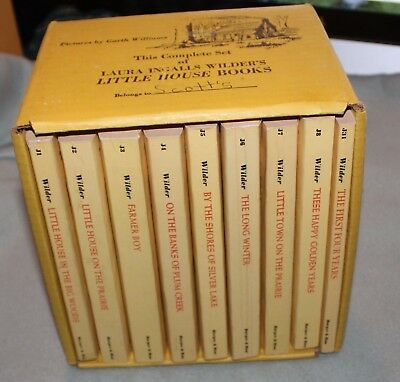 Vintage Boxed Little House on the Prairie Set  Yellow.. Box Good, Books Very Goo