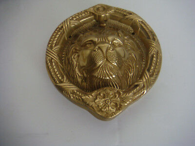 "old LION HEAD DOOR KNOCKER Large  7.5"" Very Heavy"