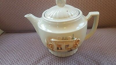 Vintage Porcelier Vitreous China Teapot raised Hearth Scene