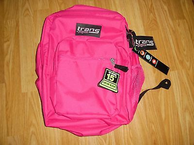 "NWT NEW Trans by Jansport Supermax Backpack Cyber Pink 15"" laptop sleeve"
