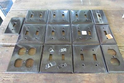 Art Deco Bakelite Switch Plate Cover Electric Vintage Brown Design Lot of 13