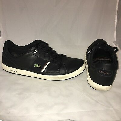 4e78002d715ca Lacoste Black Leather Low Sneakers Men s Size 13 Logo Ankle Casual Fashion