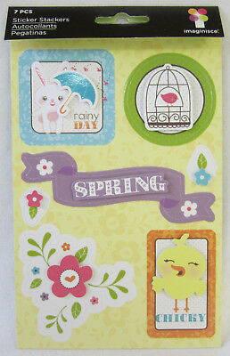 Imaginisce 7 Sticker Stackers Spring Scrapbooking & Card Making Embellishments