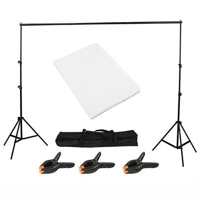 Photo Studio Background Support Stand with Free White Backdrop Carrying Case UK