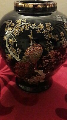 vintage  Cobalt  Blue gold  edging  vase  featuring pheasants