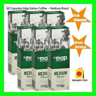 60 Capsules Map Italian Coffee Medium Roast Capsule Pod Caffitaly System eBC