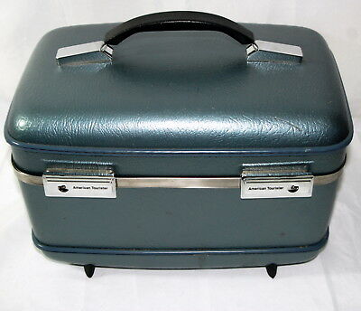 Vintage American Tourister Luggage Train Case Blue Overnight Vanity Carry On