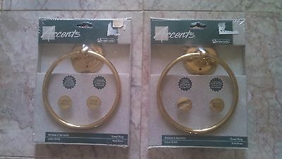 Amerock Solid Polished Brass PAIR of 2 Hanging Towel Rings Bathroom New in Box