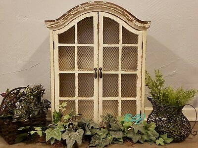 Distressed Vintage Shabby Rustic Arched Windowpane Wood Wall Cabinet Home Decor
